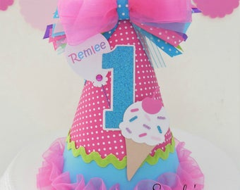 Lil' Ice Cream - Hot Pink, Purple and Aqua Birthday Party Hat - Personalized