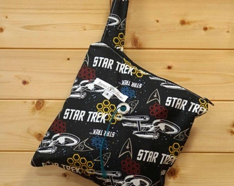 Knitting Bag, Crochet, Knit, Yarn, Wool, Star Trek, Yarn Storage, Yarn Bag with Hole, Grommet, Handle, SYB125
