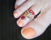 Stacking Toe Ring | Be My Valentine | Heart and Crystal Charm | Stretch Bead Toe Ring