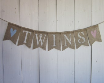 Twins Baby Shower Banner - Simple Sweet Twins Bunting - Baby Shower Bunting - Twin Babies Shower Decorations - Photo Prop - Hearts