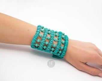 Bracelet Secret wallet . Wide bracelet turquoise color . Bracelet for money , bracelet purse , money cuff bracelet . Wrist Wallet