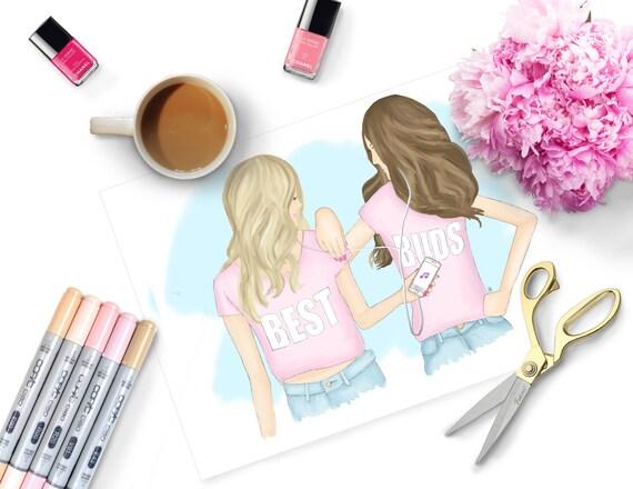 Best Buds Print, Best Friend illustration, BFF print, BFF art, Best friend Art, besties print, besties art, girl boss print, gifts for her