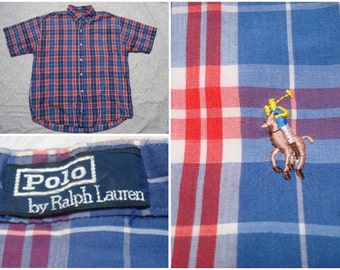Vintage Retro Men's 90's Polo Ralph Lauren Blue Red White Plaid Buttonup Short Sleeve Shirt XL