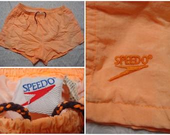 Vintage Retro Men's 90's Speedo Swimsuit Orange Neon Peach Trunks XL