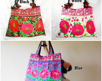 Large Bag 'Beauty Blossom' Embroidery Chinese Hmong Hilltribe in Thailand (KP1200)