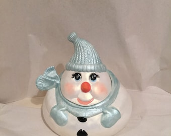 Ceramic  snowman candy  dish handpainted by Joan Davis