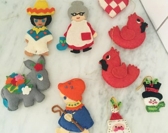 Felt Ornaments, Vintage Felt Christmas, Felt Sequin Ornaments, Donkey, Santa, Snowman, Cardinal Ornaments