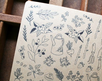 Hand illustrated Vegetable Garden Sheet
