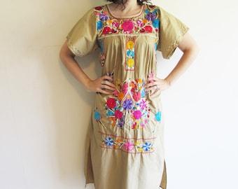 Vintage Tan Hippie Boho Festival  Embroidered Mexician Maxi Dress
