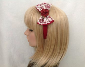 Burgundy lace rose headband hair bow rockabilly psychobilly sugar gothic Lolita cute pin up girl vintage shabby chic pretty kawaii kitsch