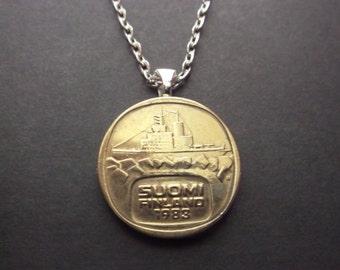 Finland Suomen Gold Colored Coin Necklace -1983 Finland Coin Pendant -