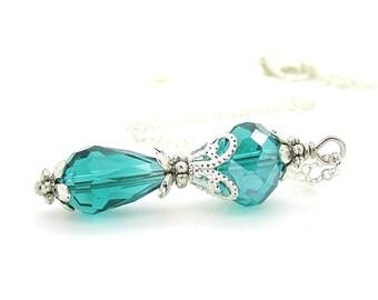 Emerald Bridesmaid Necklace, Emerald Wedding Sets, Green Bridal Sets, Crystal Pendant, Bridesmaid Gift Idea, Crystal Drop Necklace, Handmade