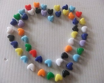 HEART SHAPED BEADS/11 mm Beads/Acrylic Pony Beads/Assorted Colors/50 Count