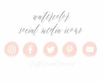 pink watercolor social media icons
