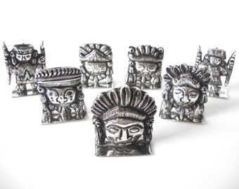 Vintage Peruvian Silver Inca Place Card Holders Set Of 7