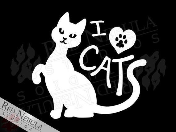 I Love Cats Decal, Vinyl Decal, Cat Lover Sticker, Feline Laptop Decal, Car Window Decal, Heart Pawprint, Vinyl Cat Sticker, Kitty Decal