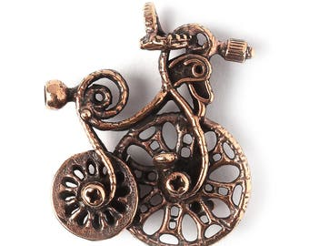 Fantasy bronze jewelry findings bike charm or pendant 3404(1). Handmade findings, bicycle, antique bronze. Designed and made by Anna Bronze.