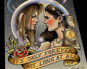Jareth and Sarah The Labyrinth David Bowie Tattoo Flash Art Print