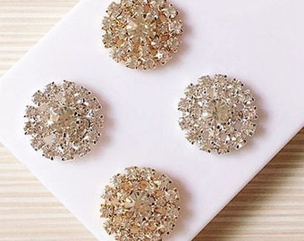 4 Flat Back Rhinestone Button Rhinestone Embellishment (22mmx22 mm) QS-202