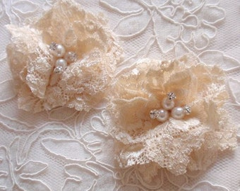 2 Lace Flowers With Rhinestone Pearl (3 inches)  MY-387 Ready To Ship