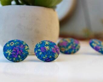 Green Pink Flower fabric Button Earrings Medium