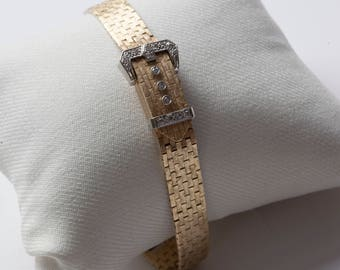 Geneva Hidden Watch Buckle Bracelet - Gold and Diamonds