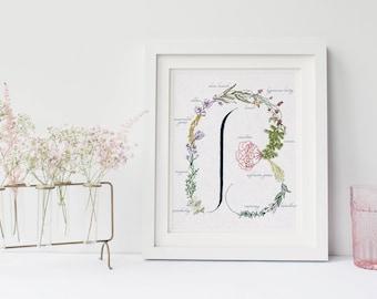 Letter Print Floral Monogram Botanical Alphabet Physical B