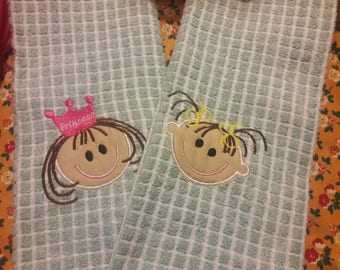 Kitchen Towels appliqued and embroidered with Girl, or Boy,