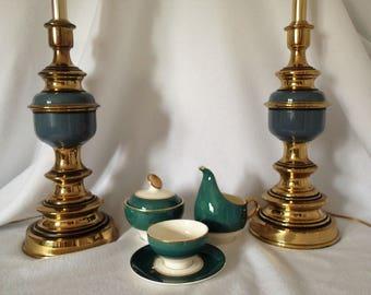 Mid Century Hollywood Regency Table lamp pair Teal Blue Heavy Enameled Brass  Hollywood Regency Vintage Lamp