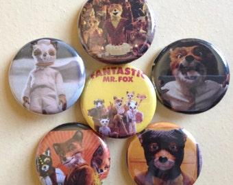 """Fantastic Mr Fox pin back buttons 1.25"""" set of 6"""