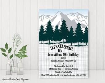 Surprise Adult Birthday Invitation, Adventure Awaits Mountain Birthday Party Invitation, Men's Birthday Party, 30th, 40th, 50th, 60th, A7007
