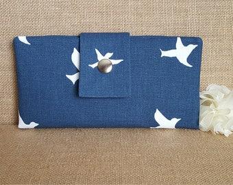 Womens Wallet, Fabric Wallet, Women's Bifold Wallet in Bird Silhouette in Navy
