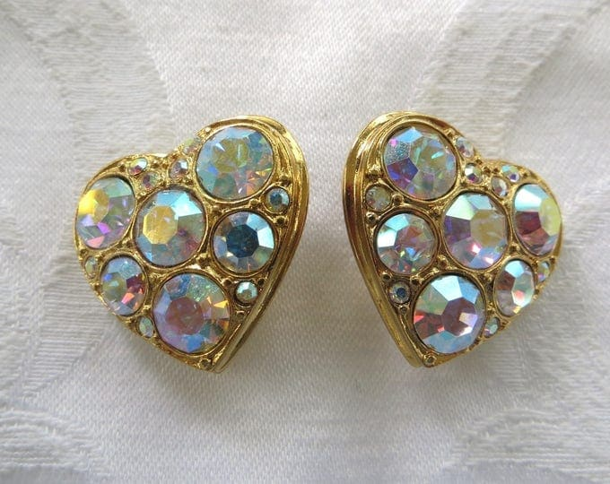 Kirks Folly Heart Earrings, Vintage Rhinestone Heart Clip Earrings, Kirks Folly Jewelry