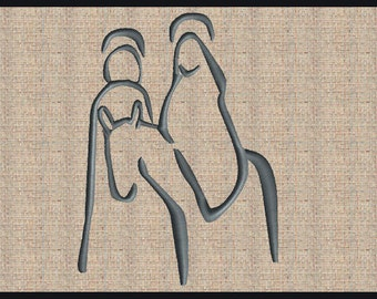 Christmas Embroidery Design Mary and Joseph Christmas Embroidery Design Bible Scripture Embroidery Design Bible Verse Design