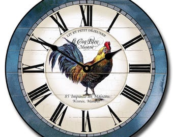Carolina Blue Rooster Wall Clock