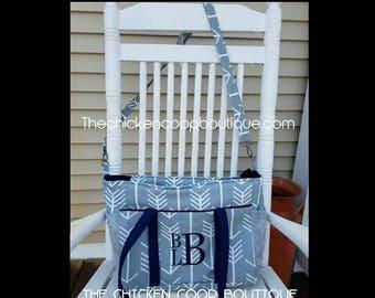 Diaper Bag  Grey Arrow with your choice of trim color & free Monogram Tribal Arrow