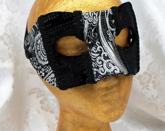 Black Silver Brocade Mask, Black and Silver Metallic Brocade and Black Velvet Men's Masquerade Mask