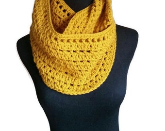Super large infinity scarf Crochet Scarf, Crochet Cowl, Crochet Woman's Scarf, Mustard color scarf with Boho headband to match your outfit