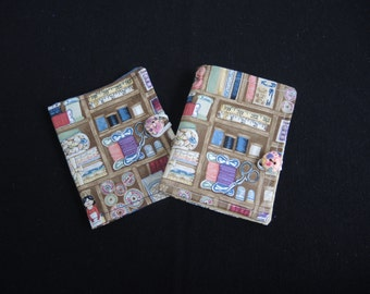 Sewing Shop sewing needle wallet case or book- vintage look- ready to ship