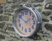 Wall Clock - Reclaimed  Steel Snare Drum - blue - MAN CAVE!