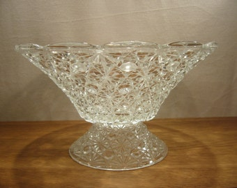 Vintage daisy and button pattern pressed glass pedestal fruit bowl