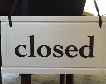 "Open/Close Business sign 2 sided Hanging signage with ribbon. Handmade In USA - Solid poplar Wood Sign 9""x17"" grooved edges"