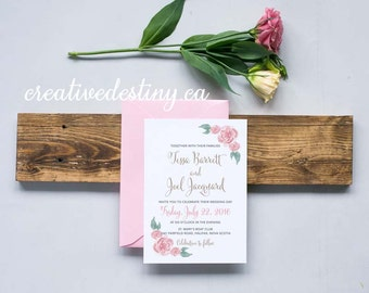 Floral Corners Wedding Invitation DIGITAL Floral Script Wedding Invitation, Custom Wedding Printable Invitation