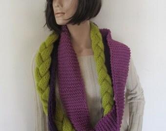 Scarf loose, scarf chuncky , scarf women, circular with braid