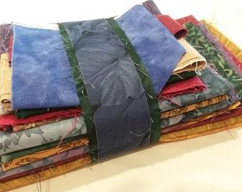 Fabric Destash Bundle Assorted Scraps Pieces Quilting, Crafts, Mini Quilts - Jewel Tones