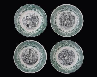 Sarreguemines Napoleon Transferware Plates Faience - 20th Century, France