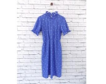 WENDY DARLING - Periwinkle Blue Patterned Dress | Blue Midi Dress | Upper Crust Purple Patterned Dress