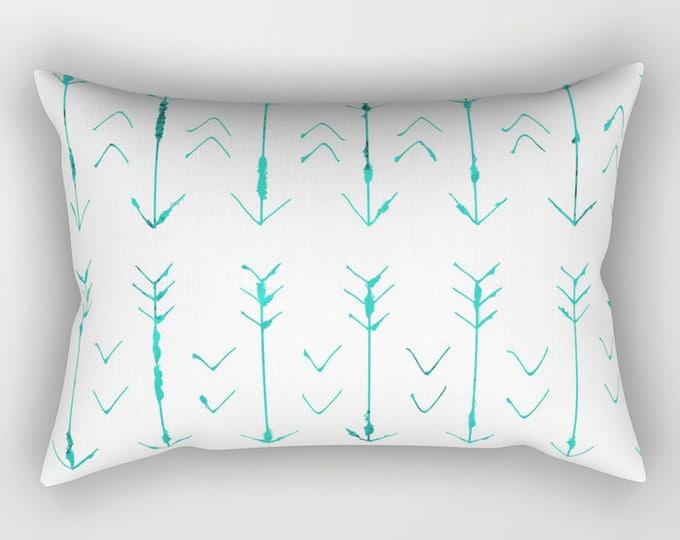 Teal Arrow Pillow Includes Pillow Insert - Rectangular Pillow - Bed Pillow  - Lumbar Throw Pillow - Made to Order