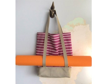 Yoga tote bag & matching pouch, Yoga bag and matching pouch - Nautical magenta and tan - 2 pieces set