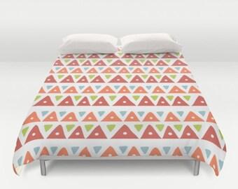 Aztec Duvet, Aztec Comforter, Tribal Duvet, Southwestern Duvet, Boho Duvet, Orange Duvet, Triangle, Mountains, Mexican, Bedding, Bedroom